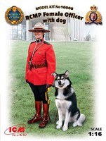 ICM Royal Canadian Mounted Police Female Officer with Dog Plastic Model Figure Kit 1/16 #16008