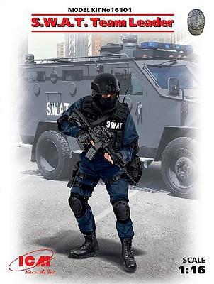 ICM SWAT Team Leader (New Tool) Plastic Model Figure Kit 1/16 Scale #16101
