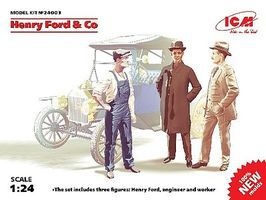 ICM Henry Ford & Co. Figure Set (3) (New Tool) Plastic Model Car Kit 1/24 Scale #24003