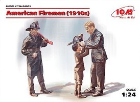 ICM American Firemen & Boy 1910s (3) (New Tool) Plastic Model Figure Kit 1/24 Scale #24005
