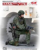 ICM SWAT Team Fighter #4 with Hand Gun Plastic Model Military Figure Kit 1/24 Scale #24104