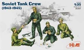 ICM Soviet Tank Crew 1943-45 (4) Plastic Model Military Figure 1/35 Scale #35351