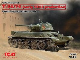ICM WWII T34/76 1943 Production Soviet Medium Tank Plastic Model Military Vehicle 1/35 #35365