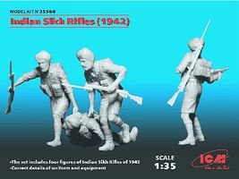 ICM Indian Sikh Rifles 1942 Figure Set (4) (New Tool) Plastic Model Military Figure 1/35 #3556