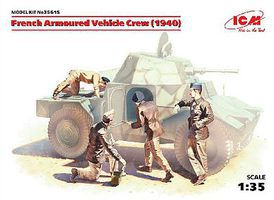 ICM French Armored Vehicle Crew 1940 Plastic Model Military Figure Kit 1/35 Scale #35615