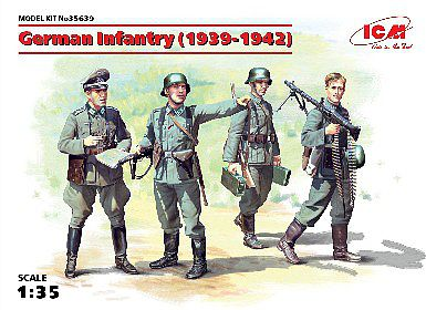 ICM WWII German Infantry (4) 1939-41 (New Tool) Plastic Model Military Figure Kit 1/35 #35639
