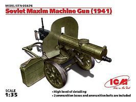 ICM Soviet Maxim Machine Gun 1941 Plastic Model Military Vehicle 1/35 Scale #35676