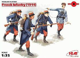 ICM French Infantry 1914 (4) (New Tool) Plastic Model Military Figure 1/35 Scale #35682