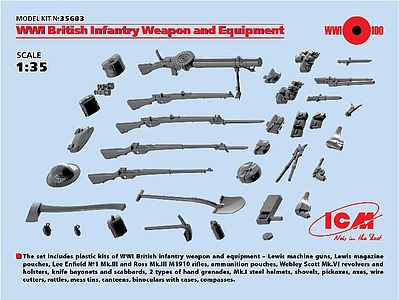 ICM WWI British Infantry Weapons & Equipment (New Tool) Plastic Model Weapon 1/35 #35683