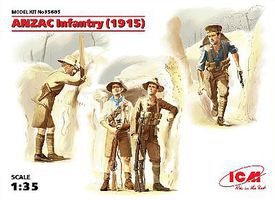 ICM WWI ANZAC Infantry 1915 (4) Plastic Model Military Figure 1/35 Scale #35685
