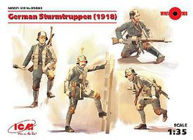 ICM German Sturmtruppen (4) (New Tool) Plastic Model Military Figure Kit 1/25 Scale #35692