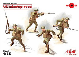 ICM US Infantry 1918 (4) (New Tool) Plastic Model Military Figure Kit 1/35 Scale #35693