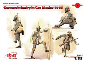 ICM 1/35 WWI German Infantry in Gas Masks (4) w/Weapons & Equipment (New Tool)