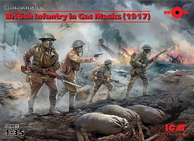 ICM 1/35 British Infantry in Gas Masks 1917 (4) (New Tool)