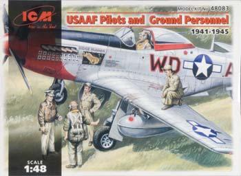 ICM Models USAAF Pilots and Ground Personel -- Plastic Model Military Figure -- 1/48 Scale -- #48083