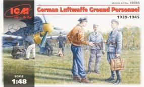 ICM German Luftwaffe Ground Personnel 1939-45 (7) Plastic Model Military Figure 1/48 #48085