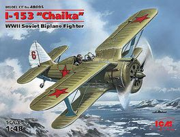 ICM WWII Soviet I153 Chaika Biplane Fighter Plastic Model Airplane Kit 1/48 Scale #48095