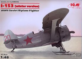 ICM I153 WWII Soviet BiPlane Fighter (Winter) Plastic Model Airplane Kit 1/48 Scale #48096