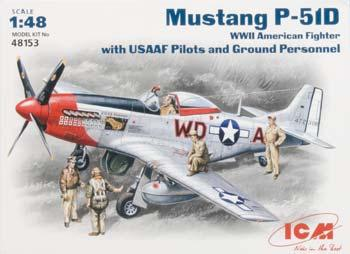 ICM Mustang P-51D U.S. Pilots and Techs Plastic Model Airplane Kit 1/48 Scale #48153