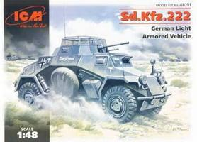 ICM SdKfz 222 German Light Armored Vehicle Plastic Model Armored Car Kit 1/48 Scale #48191