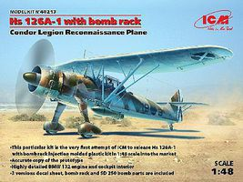 ICM Hs126A1 Condor Legion Recon Aircraft Plastic Model Airplane Kit 1/48 Scale #48213