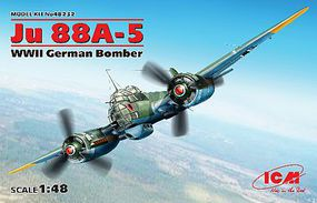ICM WWII Ju88A5 German Bomber (New Tool) Plastic Model Airplane Kit 1/48 Scale #48232