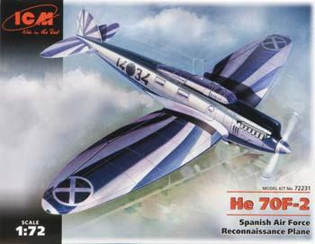 ICM Models He-70F-2 Spanish Air Force Recon Plane -- Plastic Model Airplane Kit -- 1/72 Scale -- #72231