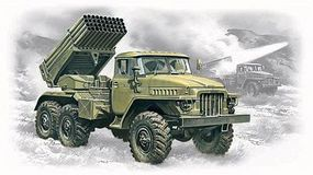 ICM BM21 Grad Multiple Launch Rocket System Plastic Model Military Truck Kit 1/72 #72714