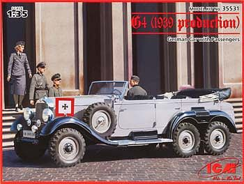 ICM G4 1939 German Car with Passengers Plastic Model Staff Car Kit 1/35 Scale #35531