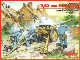 ICM Pak 36(r)7.62cm ATG & German Crew Plastic Model Artillery Kit 1/35 Scale #35801