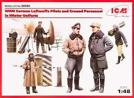 ICM Luftwaffe Pilots/Personnel Plastic Model Military Figure 1/48 Scale #48086