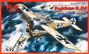 ICM WWI Fokker E IV German Fighter Plastic Model Airplane Kit 1/72 Scale #72111