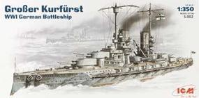 ICM Grober Kurfurst WWI German Battleship Plastic Model Battleship Kit 1/350 Scale #s002