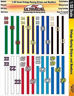 1/32 UltraCal Hi-Def Decals- Vintage Racing Stripes & Numbers