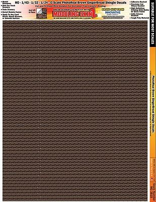Innovative Hobby Supply Multi-Scale SkinZ PhotoReal Decals- Brown Gingerbread Shingles -- Slot Car Decal -- #3819