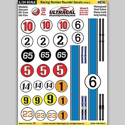 Innovative Hobby Supply 1/24 Peel & Stick Decals- Racing Number Roundel/Red Stripe Style 2 -- Slot Car Decal -- #64002