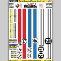 1/24 Peel & Stick Decals- Racing Stripe & Roundel Style 1 Slot Car Decal #64031