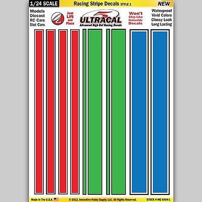 Innovative Hobby Supply 1/24 Peel & Stick Decals- Racing Stripe Red/Green/Blue Style 1 -- Slot Car Decal -- #64041
