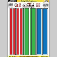 Innovative 1/24 Peel & Stick Decals- Racing Stripe Red/Green/Blue Style 1 Slot Car Decal #64041