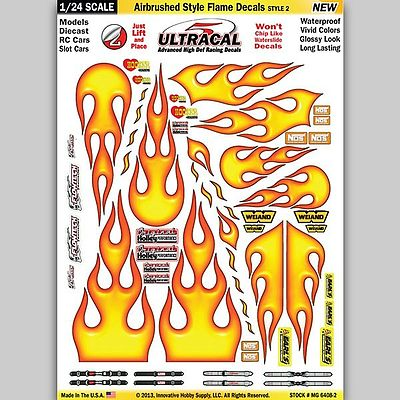 Innovative Hobby Supply 1/24 UltraCal Hi-Def Peel & Stick Decals- Airbrushed Styled Flames -- Slot Car Decal -- #64082