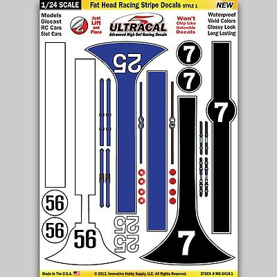 Innovative Hobby Supply 1/24 UltraCal Hi-Def Peel & Stick Decals- Fat Head Racing Stripe Style 1 -- Slot Car Decal -- #64181