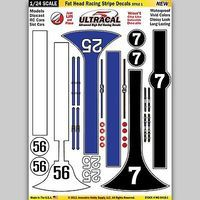 Innovative 1/24 UltraCal Hi-Def Peel & Stick Decals- Fat Head Racing Stripe Style 1 Slot Car Decal #64181