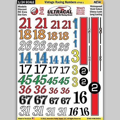 Innovative 1/24 UltraCal Hi-Def Peel & Stick Decals- Vintage Racing Numbers Style 1 Slot Car Decal #64201