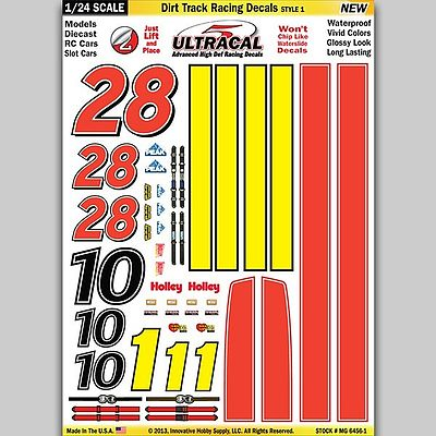 Innovative Hobby Supply 1/24 UltraCal Hi-Def Peel & Stick Decals- Dirt Track Racing Style 1 -- Slot Car Decal -- #64561