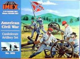 Confederate Artillery Civil War Figure Set 1/72 Scale Plastic Model Military Figure #502