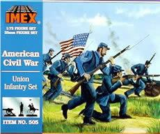Imex Model Co Union Infantry Civil War Figure Set -- Plastic Model Military Figure -- 1/72 Scale -- #505