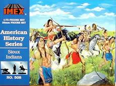 Imex Model Co Sioux Indians -- Western Plastic Model Kit -- 1/72 Scale -- #508