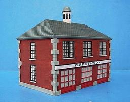 Imex Firehouse Assembled Perma-Scene HO Scale Model Railroad Building #6105