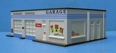 Imex Gas Station Assembled Perma-Scene HO Scale Model Railroad Building #6107