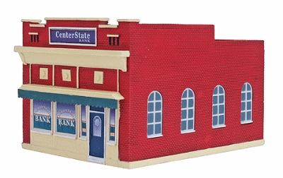 Imex Center State Bank Assembled Perma-Scene HO Scale Model Railroad Building #6116